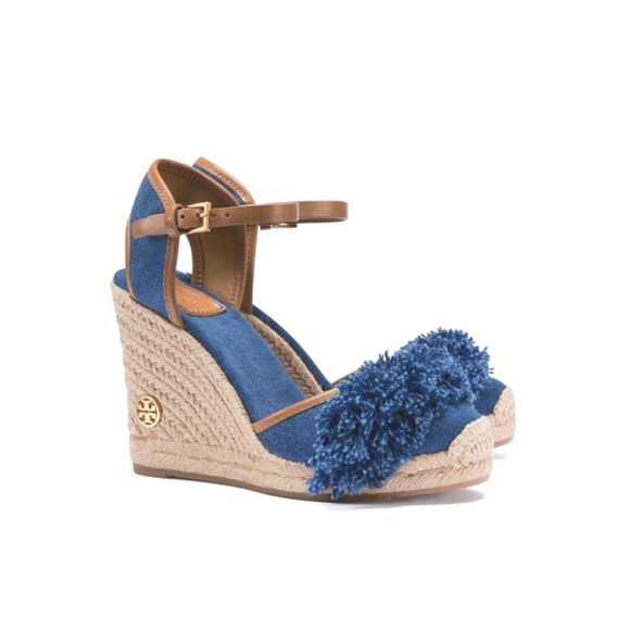 3cd181fa1e1944 Tory Burch Shaw 90 MM Wedge Espadrilles In Denim